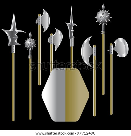 Illustration of medieval weapons and shield - vector. Rasterized version also available in portfolio. - stock vector