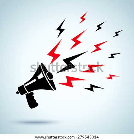 illustration of megaphone and lightning - stock vector