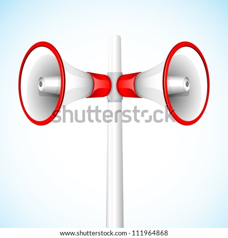 illustration of megaphone in stand for announcement - stock vector