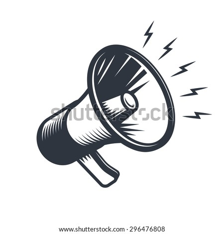 Illustration of megaphone. Monochrome style. isolated on white background. - stock vector