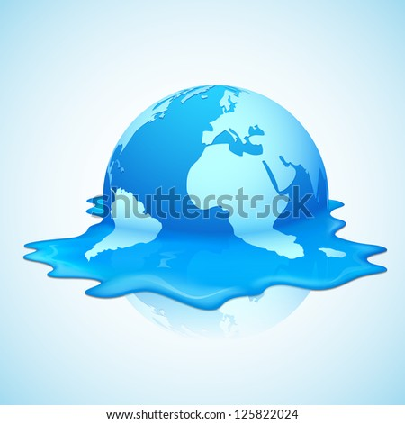 illustration of melting earth showing global warming - stock vector