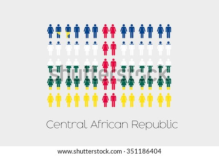 Illustration of Men and Women with the Flag of Central African Republic