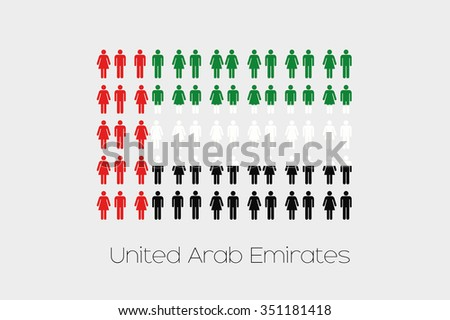 Illustration of Men and Women with the Flag of United Arab Emirates