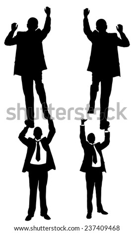 illustration of men climbing on each other - stock vector