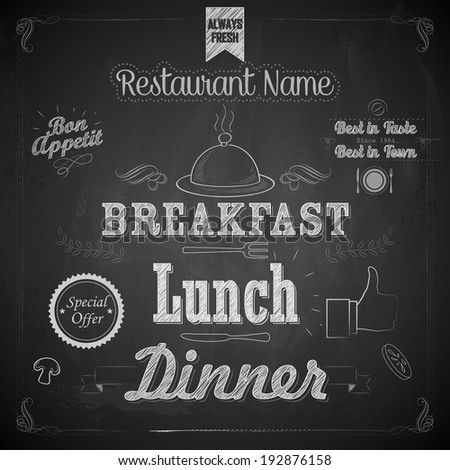 illustration of menu written on chalkboard - stock vector