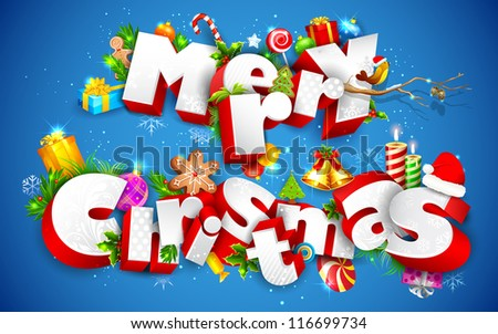 illustration of Merry Christmas text with other element - stock vector