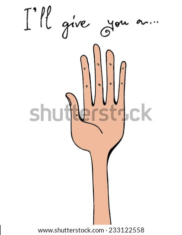 illustration of message: I'll give you a hand, words, hand, simple design/vector I'll give you a hand - color/digital vector