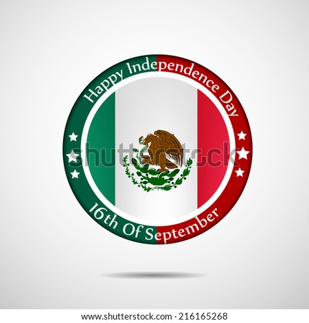 Illustration of Mexico Flag badge for Independence Day