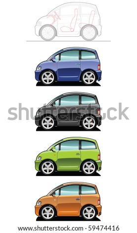 illustration of  microcar (Simple gradients only - no gradient mesh.) - stock vector