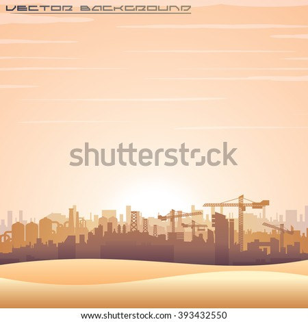Illustration of Mideast Urban Cityscape. Modern Buildings Construct. Vector Background for Your Text and Design. - stock vector