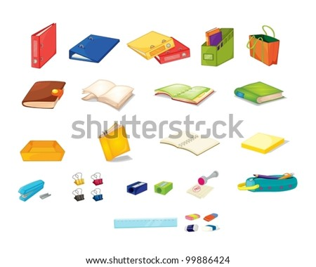 Illustration of mixed stationary office items - stock vector