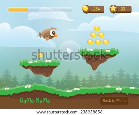 Game Character Design Apps : Illustration mobile app game landscape level stock vector 2018