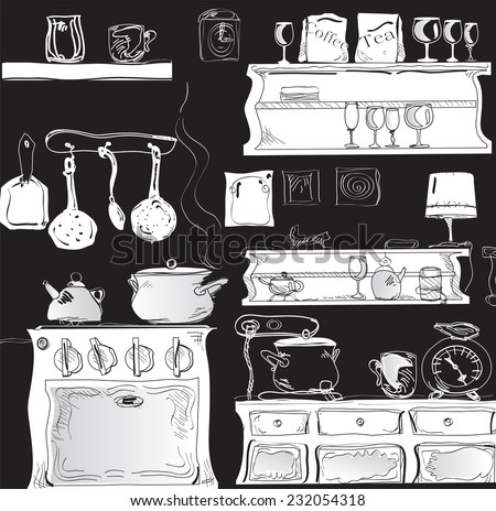 Illustration of modern kitchen in black and white - stock vector