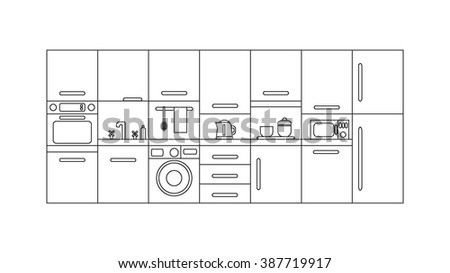 Illustration of modern kitchen with different kitchen and house appliances. Vector line template. Banner or flyer concept for kitchen shop, house appliances and home technology.
