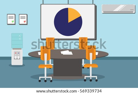 Illustration Modern Office Conference Room Large Stock Vector - Conference room table and chairs clip art