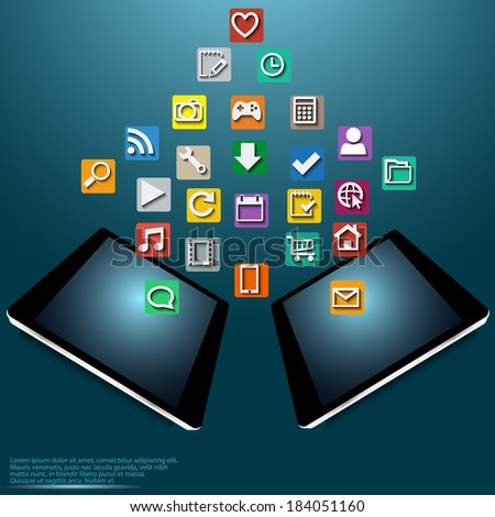 Illustration of modern Tablet PC with cloud of colorful icons for applications and business vector