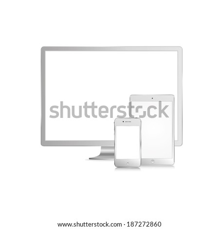 illustration of modern white monitor, tablet and phone on white background - stock vector