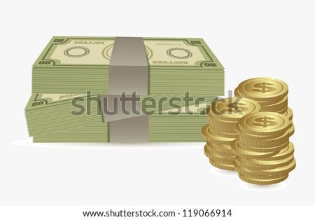 illustration of money icons. Bill and coins illustrations, vector illustration