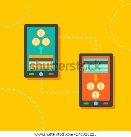 illustration of money transfer through mobile smartphone