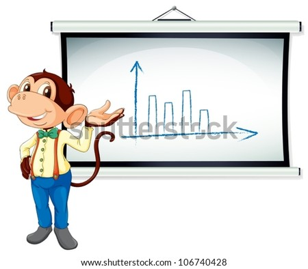 illustration of monkey showing a bar graph on white