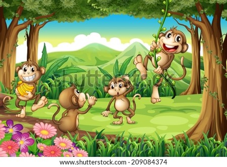 Illustration of monkeys playing in the forest - stock vector