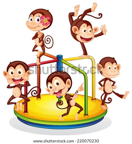 Illustration of monkeys playing with a roundabout - stock vector