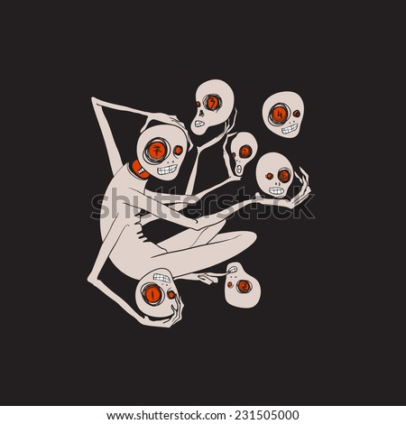 Illustration of monster with multiple hands holding heads. There are seven heads with different numbers in each eye. Can be used in dark art project - stock vector