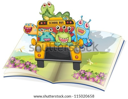 illustration of monsters, school bus and book on a white background - stock vector