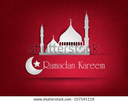 Illustration of Mosque or Masjid with text Ramadan Kareem. EPS 10. - stock vector