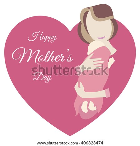 Illustration of mother and baby. Happy Mother's Day. Young mother hugging her baby. Mother and daughter. Vector flat design - stock vector