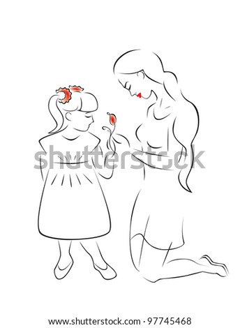 Illustration of motherhood and caring - a mother and daughter admire a flower. - stock vector