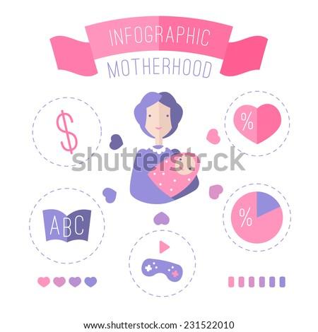 Illustration of motherhood for your design - stock vector