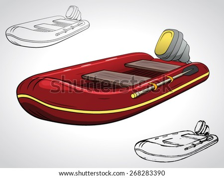 illustration of motorboat with a black outline isolated on white - stock vector