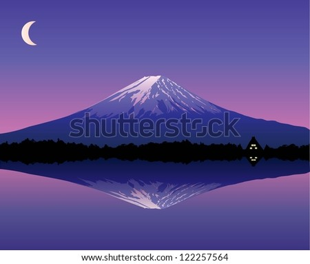 Illustration of Mount Fuji reflecting on a lake at night with traditional Japanese house and moon background in Japan - stock vector
