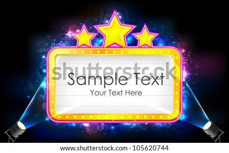 illustration of movie display board with focus light - stock vector