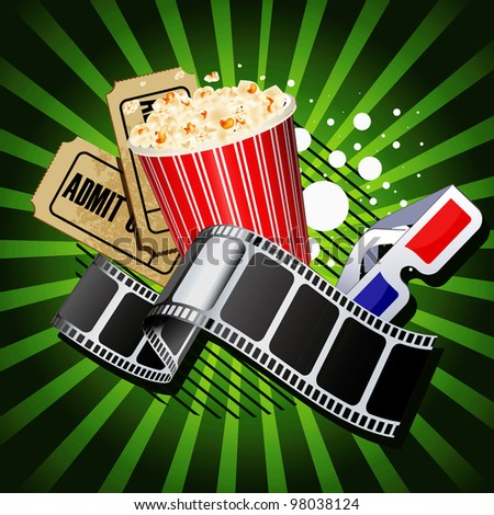 Illustration of  movie theme objects on green background. - stock vector