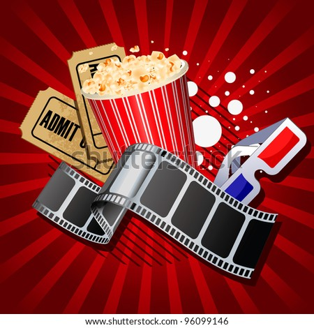 Illustration of  movie theme objects on red background. - stock vector