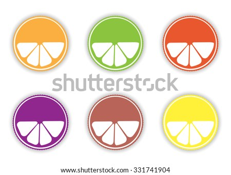 Illustration of Multicolored Juice Tag Collection With Copyspace Over White - stock vector