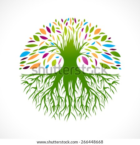 Illustration of Multicolored Round Abstract Vitality Tree  Logo Design - stock vector