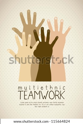 Illustration of multiethnic teamwork, people silhouettes in colors, vector illustration - stock vector
