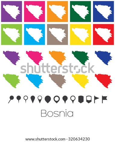 Illustration of Multiple Colours with Pointers of the map of Bosnia