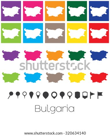 Illustration of Multiple Colours with Pointers of the map of Bulgaria