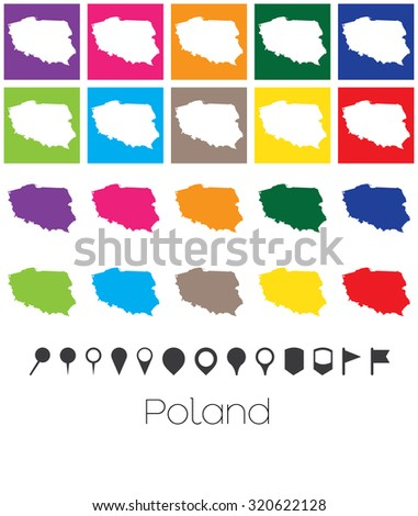 Illustration of Multiple Colours with Pointers of the map of Poland