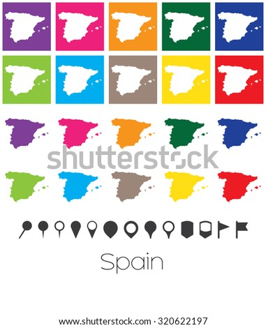 Illustration of Multiple Colours with Pointers of the map of Spain