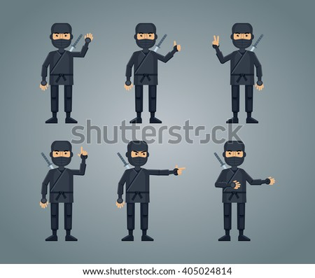 Illustration of multiple ninjas showing different hand gestures - stock vector