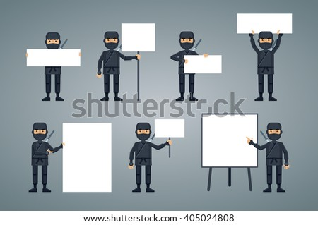 Illustration of multiple ninjas with different banners - stock vector