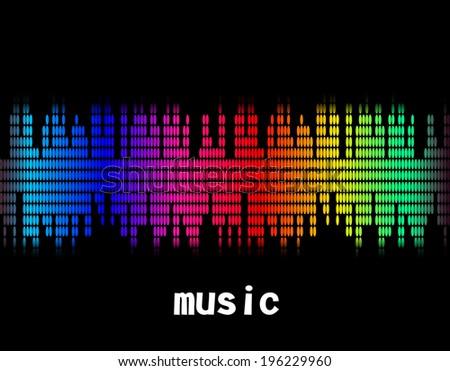 illustration  of music colorful equaliser bar in black background. Vector. Eps10 - stock vector