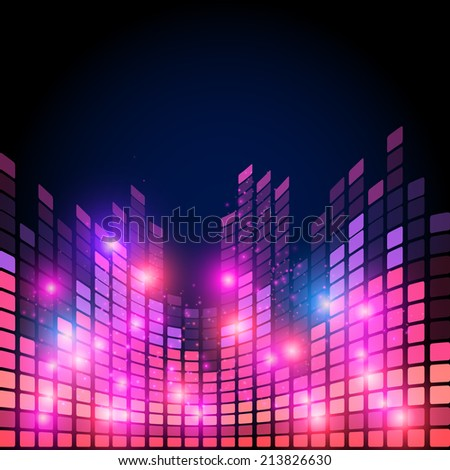 Illustration of music equalizer bar in shiny background - stock vector