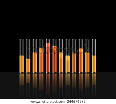 illustration of music in transparent equalizer bar in black background - stock vector