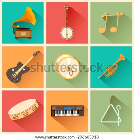 illustration of music instrument in flat style - stock vector